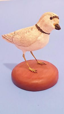 Piping Plover Hand Carved Wood Bird by Bob Lee Master Carver signed & Detailed