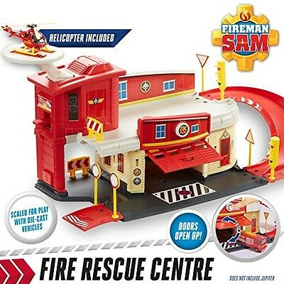 Fireman Sam Fire Rescue Centre Station Diecast Playset + Wallaby Helicopter