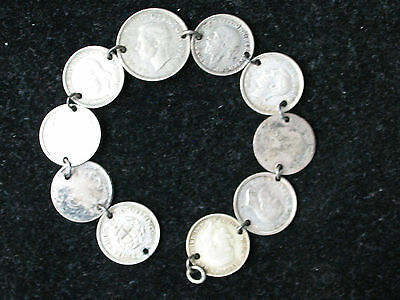10 Coin Bracelet * SILVER * VINTAGE GREAT BRITIAN 3 & 6 PENCE * MISSING CLASP *