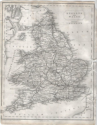 ENGLAND & WALES - BEAUTIFUL ORIGINAL 19th CENTURY ANTIQUE ENGRAVED MAP c1800s