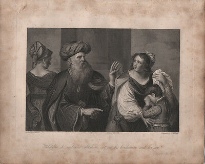 ABRAHAM AND THE BOND WOMAN - ORIGINAL 19th CENTURY ANTIQUE ENGRAVING c.1800s
