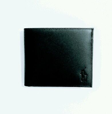 Polo Ralph Lauren Bi Fold Black  Note Coin Leather Wallet
