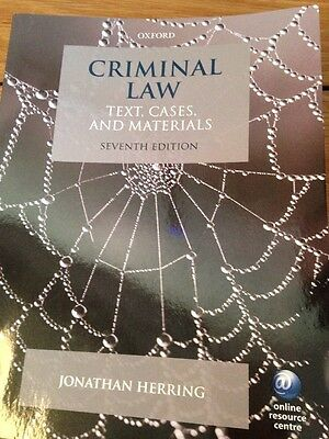 Criminal Law Text, Cases And Materials 7th Edn