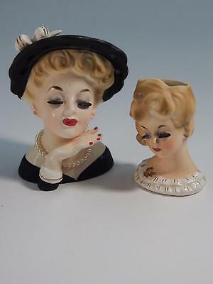"2 Vintage Lady Head Vases 5"" 1961 Inarco E-190/S"