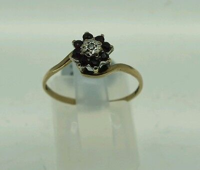 Vintage 9Ct Gold Garnet And Diamond Cluster Ring Size O/p