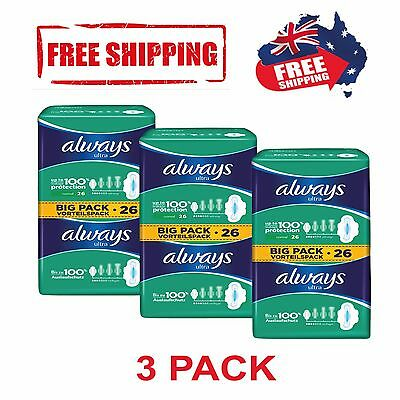 Always Ultra Normal Pads|Sanitary Towels With Wings|Australia|3 packs (78 pads)