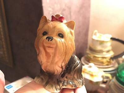 Long Haired Yorkshire Terrier pottery ornament
