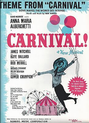 carnival sheet music words and notes 1961 copyright see scan