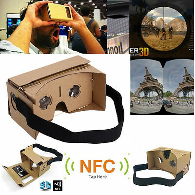 3D Virtual Reality VR Cardboard Headset FULL with NFC for Google Android, iPhone