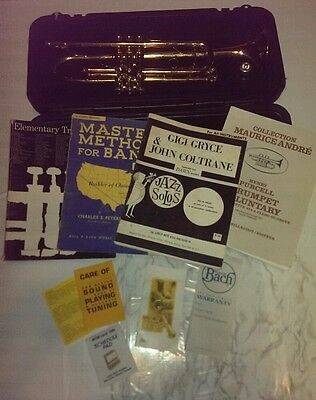 Bach USA TR300 Student Trumpet - Smooth Valves - Plays Great - 4 books