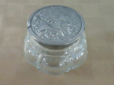 Beautiful Ribbed Glass Avon Powder Jar Metal Top Lady Head Surrounded By Flowers
