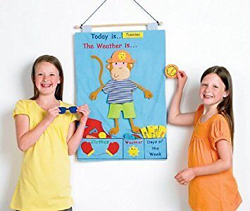 Kids Childrens Monkey Weather Chart Wall Hanging Educational Play Learning