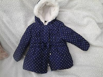 Girls - Blue/white Spotted Padded/lined Hooded  Coat  - Age 18-24 Mths
