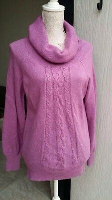 Marks & Spencer Ladies Cable Knit Cowl Neck Sweater Magenta With Cashmere 18 UK