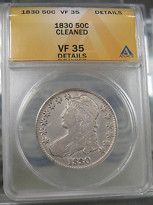 1830 Capped Bust Half Dollar ANACS VF 35 Details Cleaned