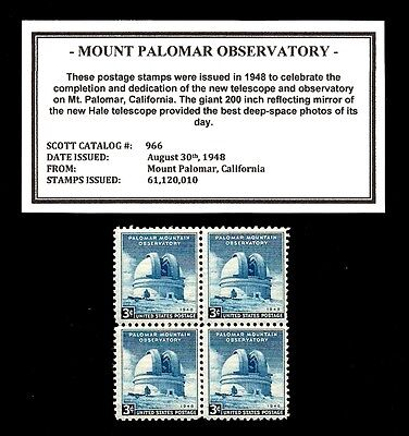 1948 - MT. PALOMAR OBSEVATORY -  Mint, Never Hinged, Block of Vintage Stamps