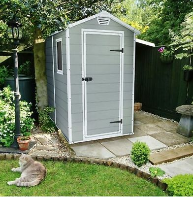 New 6X4 Keter Apex Plastic Shed Outdoor Garden Storage Sheds Tools Waterproof