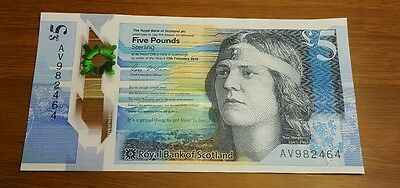 New Scottish polymer 5 pound bank note in mint condition  £5