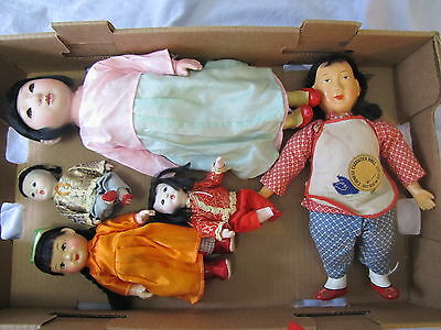 "Collection of Antique/Vintage Asian Dolls - 5 Dolls & Misc Clothing ~ 5"" to 14"""