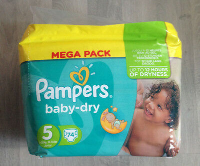 Pampers Baby dry taille 5 X74 couches Neuf