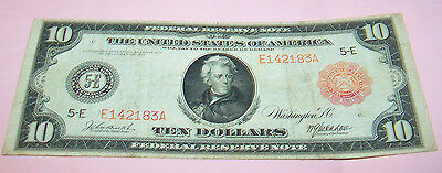 1914 Ten Dollars LARGE SIZE RED SEAL Federal Reseve Note Richmond Va. Fine+ Low#