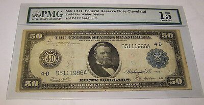 1914 Fifty Dollars LARGE SIZE Federal Reseve Note Cleveland Choice Fine- 15