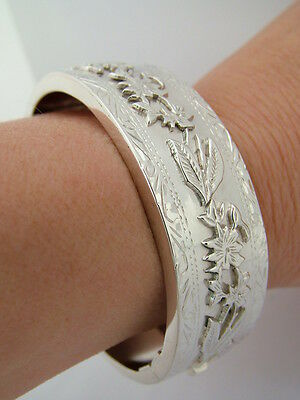 Hallmarked Victorian Style Solid Sterling Silver Heavy Wide Cuff Bangle Bracelet