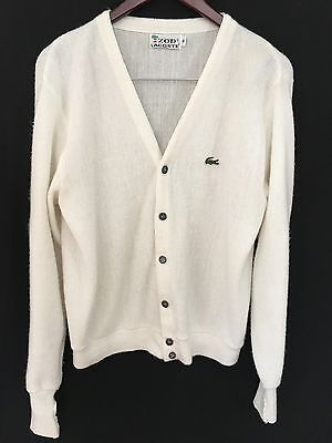LaCoste Mens 60's Sweater Cardigan White Medium L/S Alligator Vintage