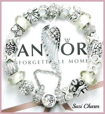 Pandora Bracelet Silver with Wife Family Mom White Angel Wing European Charms