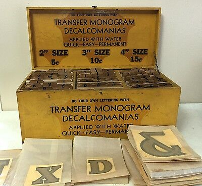 Vintage decals Decalcomania store display black gold letters Transfer Monogram
