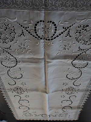 "VTG Antique Madeira Point Venise Hand Embroidery Filet Runner Cleaned 35"" Great"