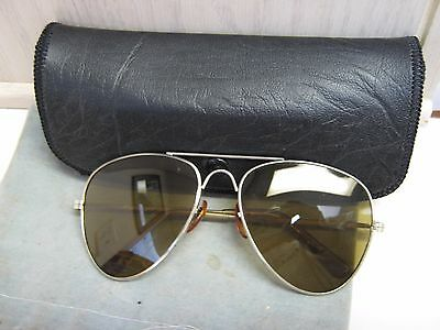 Vintage Aviator Yellow Lens Sunglasses with Hard Case
