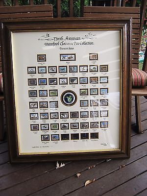Framed Ducks Unlimited North American Waterfowl Cloisonne Pin Collection 1934 -