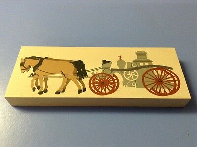 FREE SHIPPING!! CATS MEOW WOOD BLOCK- Fire Truck Pumper Wagon Horse