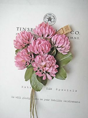 Lovely Vintage Czech Pink Clover Millinery Hat Flower UNUSED Tag Attached