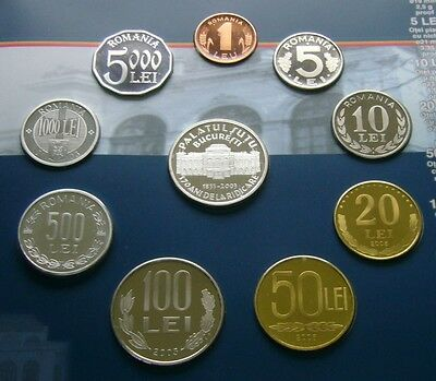 Romania coin set 2003, 9 coin Proof set plus silver medal