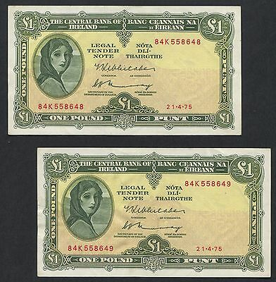 Ireland - Consecutive Pair Lady Lavery 1 Punt £1 Banknote - 21/4/75 - 84K Prefix