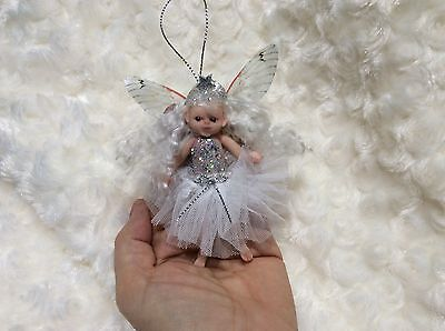 Ooak Cute Baby Girl Doll - Christmas Fairy Angel Miniature - Realistic skintone