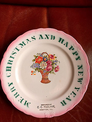 VINTAGE MERRY CHRISTMAS HAPPY NEW YEAR PLATE CC McCLAVE KEMPTON IL by McNICOL, O