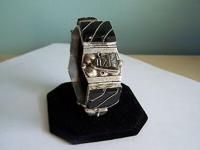 """Vintage Taxco Mexico Sterling Silver Obsidian Hinged 7.25"""" Bracelet Retro"""