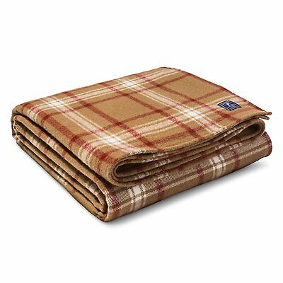 NEW Faribault Woolen Mill Company Plaid Wool Blanket, FULL/QUEEN, Chestnut Brown