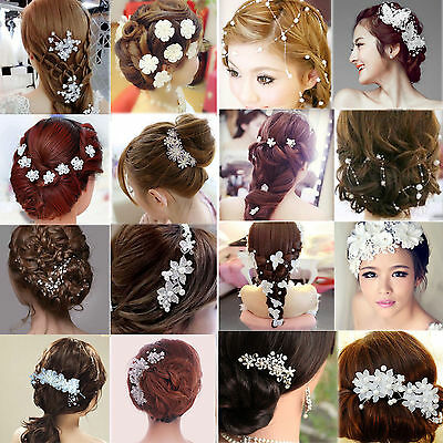 FA Crystal Diamante Rhinestone Flower Pearl Hair Pin Slide Clip Grip Comb Bridal