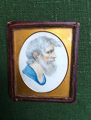 Miniature antique watercolour and pencil drawing of an old man.