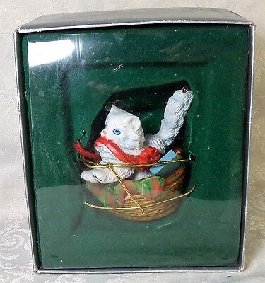 "1987 Enesco ""Kittys Bed"" Christmas Ornament New In Box Cat-Real Basket Cutie"