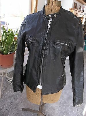 MENS VTG 60s BROOKS STEERHIDE LEATHER CAFE RACER MOTORCYCLE JACKET SIZE 42 to 44