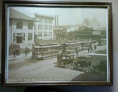 8X10 Noon At Buick Plant Flint Mi Michigan Trolley Cars Factory Workers Autos