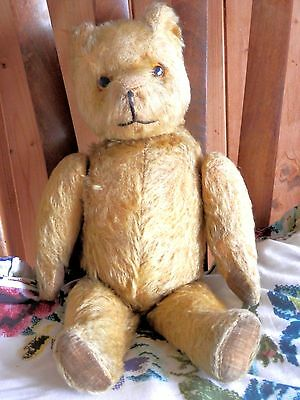 """Antique / Vintage Teddy Bear Golden Mohair Jointed 16"""""""