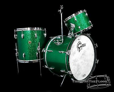 1960s GRETSCH 'BOP' Outfit : 20-13-16 : GREEN Glass Round Badge Kit Vintage