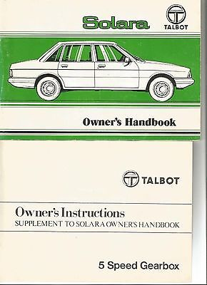 Old,1980 Issued,talbot,solara,+Supplement Owners Handbook,old Classic Car,book