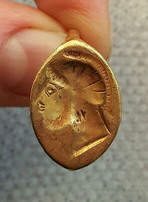 Ancient Greek Gold Ring 6th Century BC Head of the Spartan Warrior 18/19mm